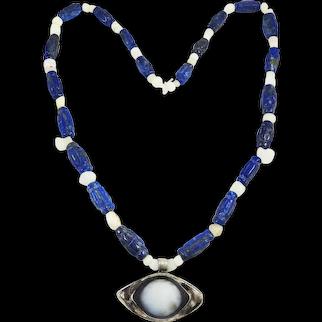 ANCIENT ROMAN Silver & Agate Eye Pendant on Custom Bactrian Lapis Lazuli Bead Necklace, c.200 AD!