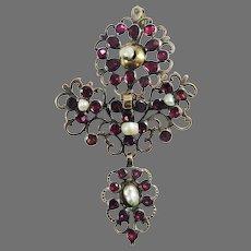 """GLITTERING 3"""" Georgian Flat-Cut Garnet/Natural Pearl/15k Pendant/Brooch, c.1775!"""