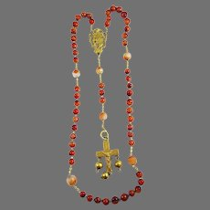 MAGNIFICENT Antique French Silver Gilt/Carnelian/Red Agate Rosary, Boar's Head Hallmarks, c.1900!
