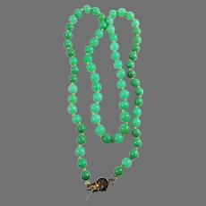 """CLASSIC 20"""" Untreated Chinese Apple Green Jadite/14k Necklace, 22.99 Grams, c.1925!"""