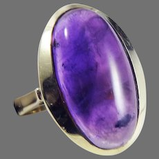 SIMPLY LOVELY 5 Ct. Art Deco Style Amethyst Cabochon/14k Ring, c.1945!