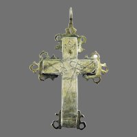 FINE Unisex Silver Gilt Reliquary Cross Pendant, Instruments of the Passion, c.1720!