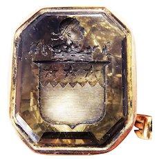 OUTSTANDING XL Heraldic Georgian Smoky Quartz/15k Rose Gold Armorial Fob Seal, c.1790!