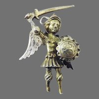 MASTERPIECE Stuart-Era Unisex Silver Gilt Pendant of Archangel St. Michael in Battle, c.1680!