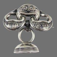 HIGHLY RARE Kazakhstan Niello Brooch w/Armorial Russian Carnelian Ducal Fob Seal, c.1800/1870!