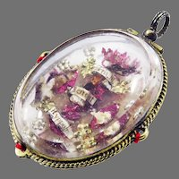 BEAUTIFUL FRENCH Rock Crystal/Silver Gilt Reliquary Pendant w/5 Intact Relics & Papal Seals. c.1740!