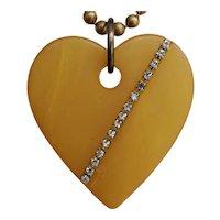 Large Vintage Plastic Heart Pendant with Rhinestones