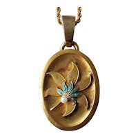 Antique Russian Imperial 14K Gold Chain & 18K Gold Locket