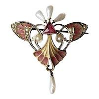 Art Nouveau Plique-a-Jour Brooch Karl Hermann
