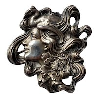 Antique Art Nouveau Unger Bros Sterling Silver Peacock Lady Brooch