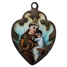 800 Silver & Enamel St Anthony Medal Pendant Charm