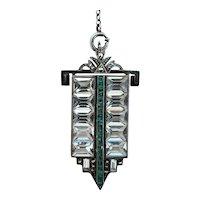 German Art Deco Sterling Crystal & Marcasite Y Necklace