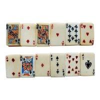 Vintage Bone Deck of Cards Tile Stretch Bracelets