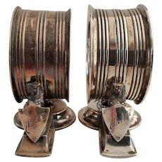 Victorian Gorham Sterling Silver Egyptian Revival Napkin Rings
