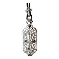 Art Deco 14K & Platinum Diamond & Sapphire Pendant Brooch