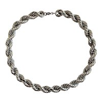 10mm Sterling Silver Rhodium Plated Rope Chain Necklace
