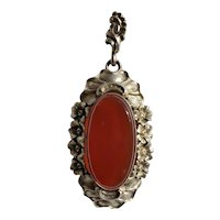 Antique Art Nouveau German Sterling & Carnelian Pendant