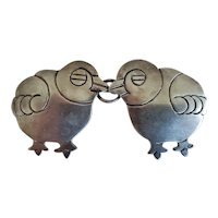Fun Vintage Mexican Silver Baby Chick Chicken Pin Brooch