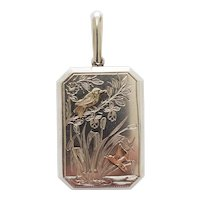Antique Victorian Sterling Silver Locket with Bird and Butterfly