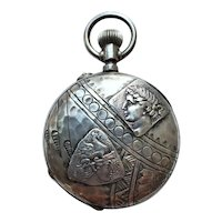 Antique Jacot Locle Homeric Medallion Silver Ladies Pocket Watch