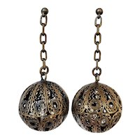 Vintage 830 Silver Filigree Dangle Earrings