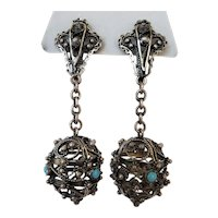 Vintage Hallmarked Silver & Turquoise Bead Earrings