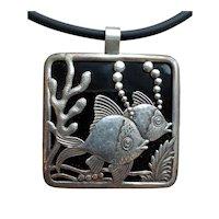 Vintage Sterling Silver & Onyx Custom Made Fish Pendant