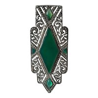 French Art Deco Sterling Silver Marcasite Chrysoprase Brooch