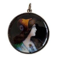 Art Nouveau French Limoges Enamel Portrait Pendant