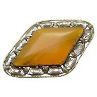 HUGE Vintage 8kt  Gold Amber Pin Brooch JUST REDUCED!