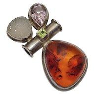Vintage  Sterling Silver Amber Amethyst Gemstone Slider Pendant JUST REDUCED!