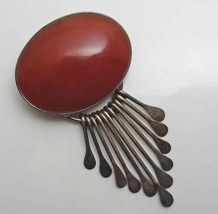 75a29e073ba5a Large Vintage Sterling Silver Mexican Carnelian Dangle Pin Necklace Pendant