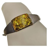 Vintage Chunky Amber Sterling Silver Bracelet JUST REDUCED!