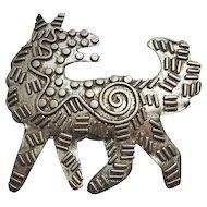 Large Sterling Silver Modernist Artisan Dog Pin Brooch JUST REDUCED!