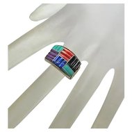 Turquoise Coral Sterling Silver  Lapis Channel Carved Ring QT JUST REDUCED!