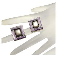 Unique Sterling Silver Modernist Shadow Box Purple Stone Earrings