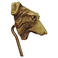 Rare Antique Collie Carved Bone Dog Pin