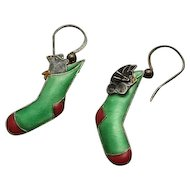 Sterling Silver Enamel Car Mouse in Stocking Earrings TOO Cute
