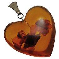 Vintage Sterling Silver Amber Heart Pendant