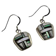 Vintage Sterling Silver Inlay Onyx Mother of Pearl Lab Opal Earrings