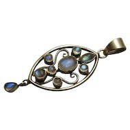 Long Sterling Silver Labradorite Pendant Nice Color