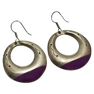 Large Mexican Sterling Silver Dangling Purple Hoop Earrings