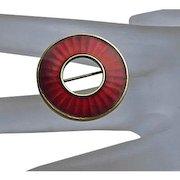 Vintage Sterling Silver Enamel Norway Circle Pin Einar Modahl Red