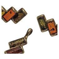 Sterling Silver Tri Color Amber Pendant Earrings Set