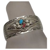 Sterling Silver Turquoise Coral Navajo American Indian Cuff Bracelet Joe Corbet