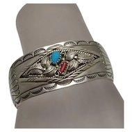 Sterling Silver Turquoise Coral Navajo American Indian Cuff Bracelet Joe Corbet
