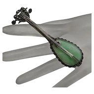 Large Vintage Sterling Silver Jade Mandolin Pin