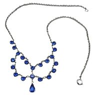 Vintage Blue Glass Open Back Stone Rhodium  Festoon Necklace