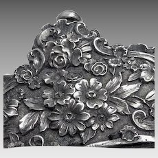 Antique Victorian Sterling Silver Repousse Floral Black Cloth Evening Bag Purse