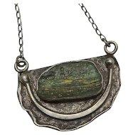 Vintage Israel Sterling Silver Modernist Ancient Glass Necklace Pendant